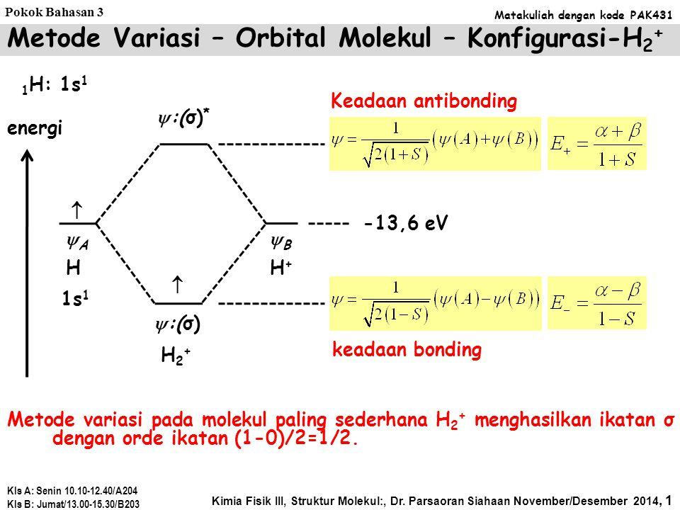 Metode Variasi – Orbital Molekul – Konfigurasi-H2+