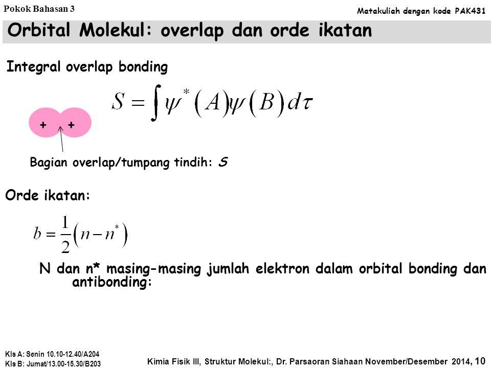 Orbital Molekul: overlap dan orde ikatan