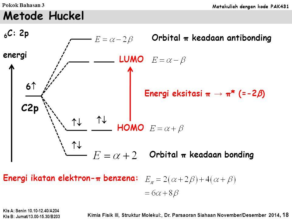 Metode Huckel C2p 6C: 2p Orbital π keadaan antibonding energi LUMO 6