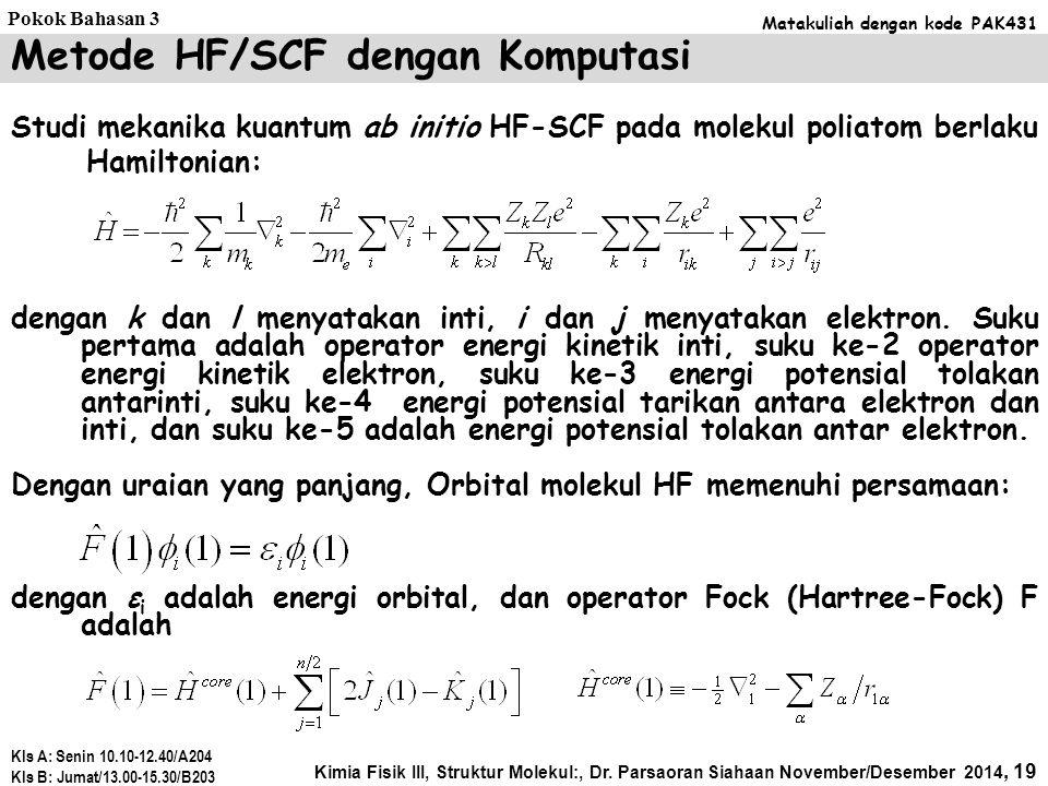 Metode HF/SCF dengan Komputasi