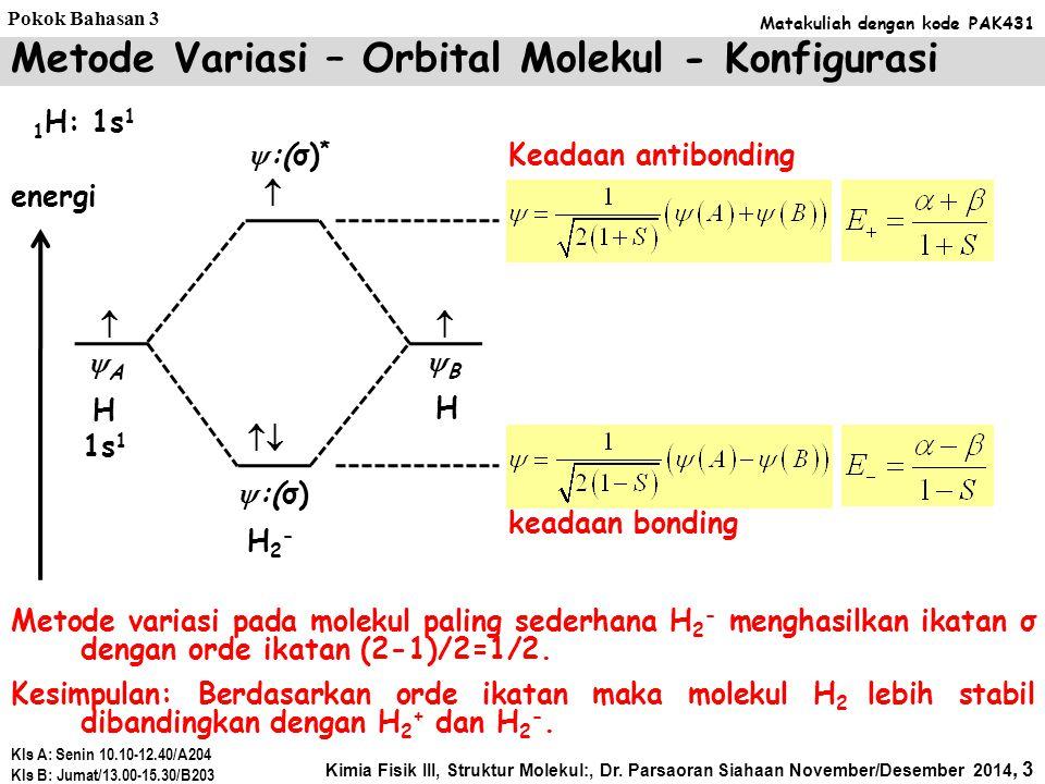 Metode Variasi – Orbital Molekul - Konfigurasi