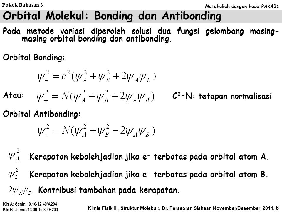Orbital Molekul: Bonding dan Antibonding