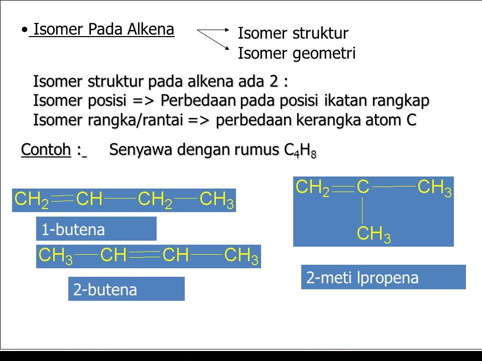 Isomer Pada Alkena Isomer struktur. Isomer geometri. Isomer struktur pada alkena ada 2 : Isomer posisi => Perbedaan pada posisi ikatan rangkap.