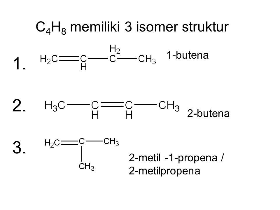 1. 2. 3. C4H8 memiliki 3 isomer struktur 1-butena 2-butena