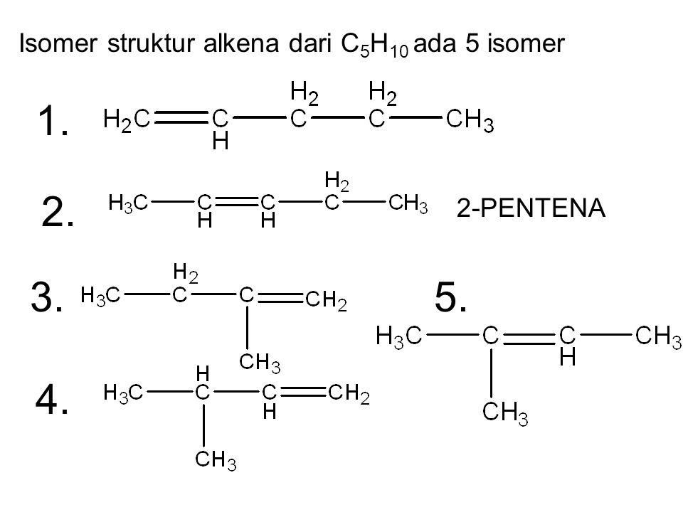 1. 2. 3. 5. 4. Isomer struktur alkena dari C5H10 ada 5 isomer