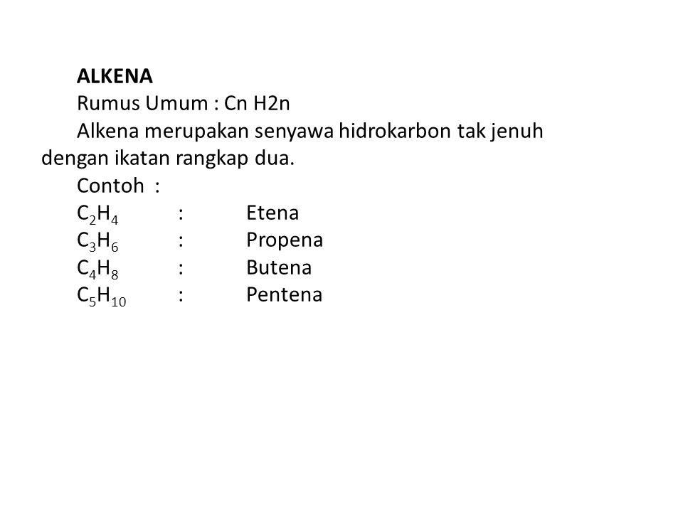 ALKENA Rumus Umum : Cn H2n. Alkena merupakan senyawa hidrokarbon tak jenuh dengan ikatan rangkap dua.