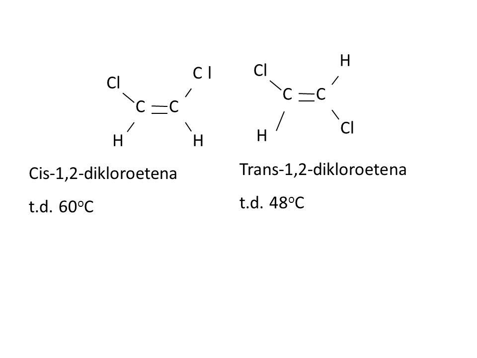 Cl C H l Trans-1,2-dikloroetena t.d. 48oC Cis-1,2-dikloroetena t.d. 60oC
