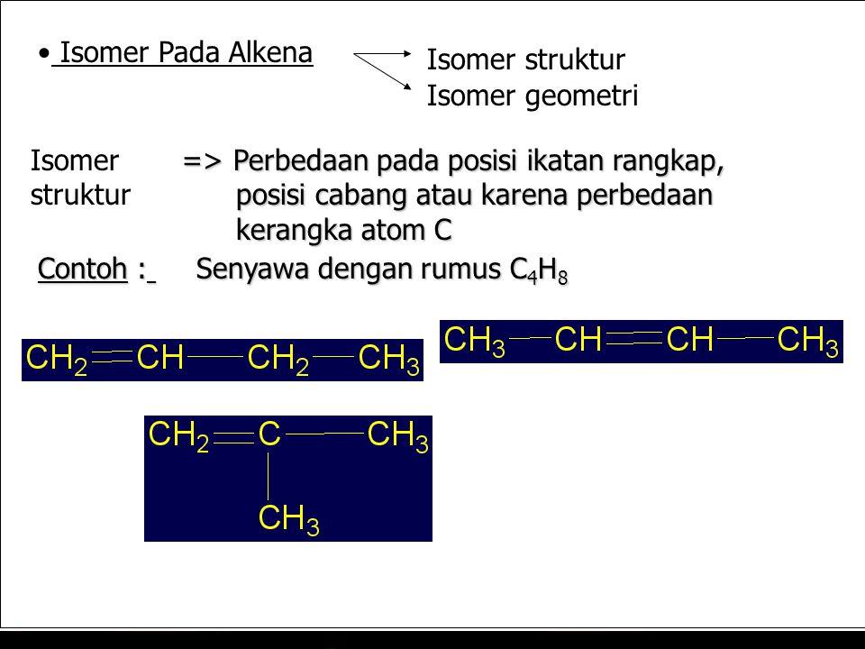 Isomer Pada Alkena Isomer struktur. Isomer geometri. Isomer struktur. => Perbedaan pada posisi ikatan rangkap,
