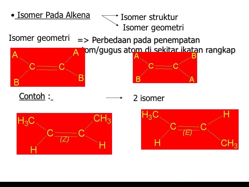 Isomer Pada Alkena Isomer struktur. Isomer geometri. Isomer geometri. => Perbedaan pada penempatan atom/gugus atom di sekitar ikatan rangkap.