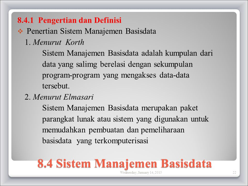 8.4 Sistem Manajemen Basisdata