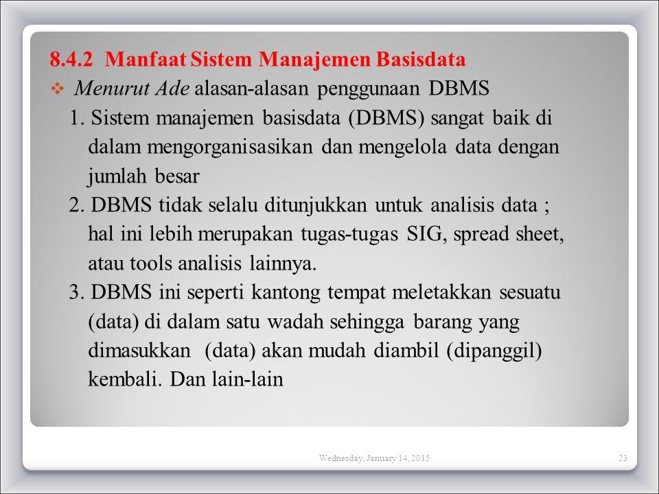 8.4.2 Manfaat Sistem Manajemen Basisdata