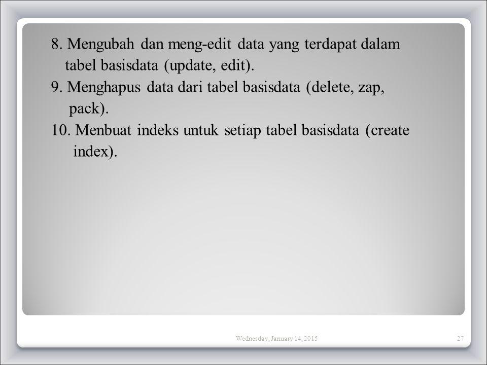 8. Mengubah dan meng-edit data yang terdapat dalam tabel basisdata (update, edit). 9. Menghapus data dari tabel basisdata (delete, zap, pack). 10. Menbuat indeks untuk setiap tabel basisdata (create index).