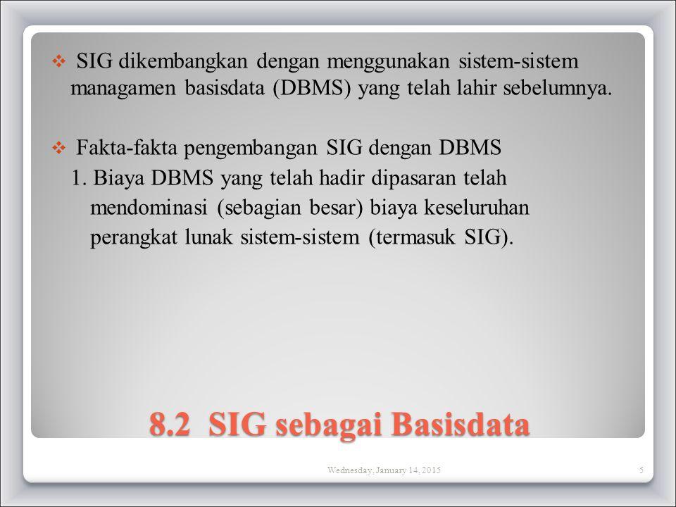 SIG dikembangkan dengan menggunakan sistem-sistem managamen basisdata (DBMS) yang telah lahir sebelumnya.