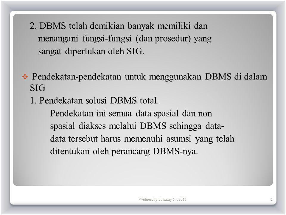 2. DBMS telah demikian banyak memiliki dan