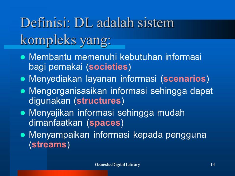 Definisi: DL adalah sistem kompleks yang: