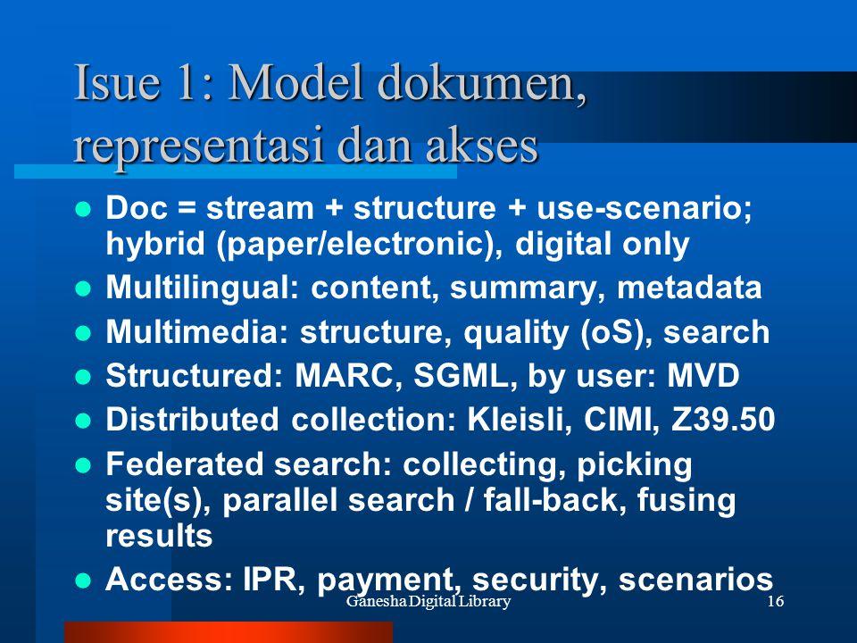 Isue 1: Model dokumen, representasi dan akses