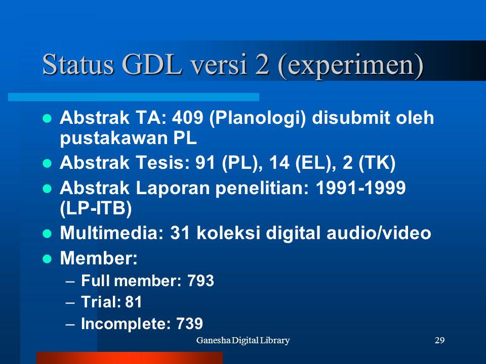 Status GDL versi 2 (experimen)