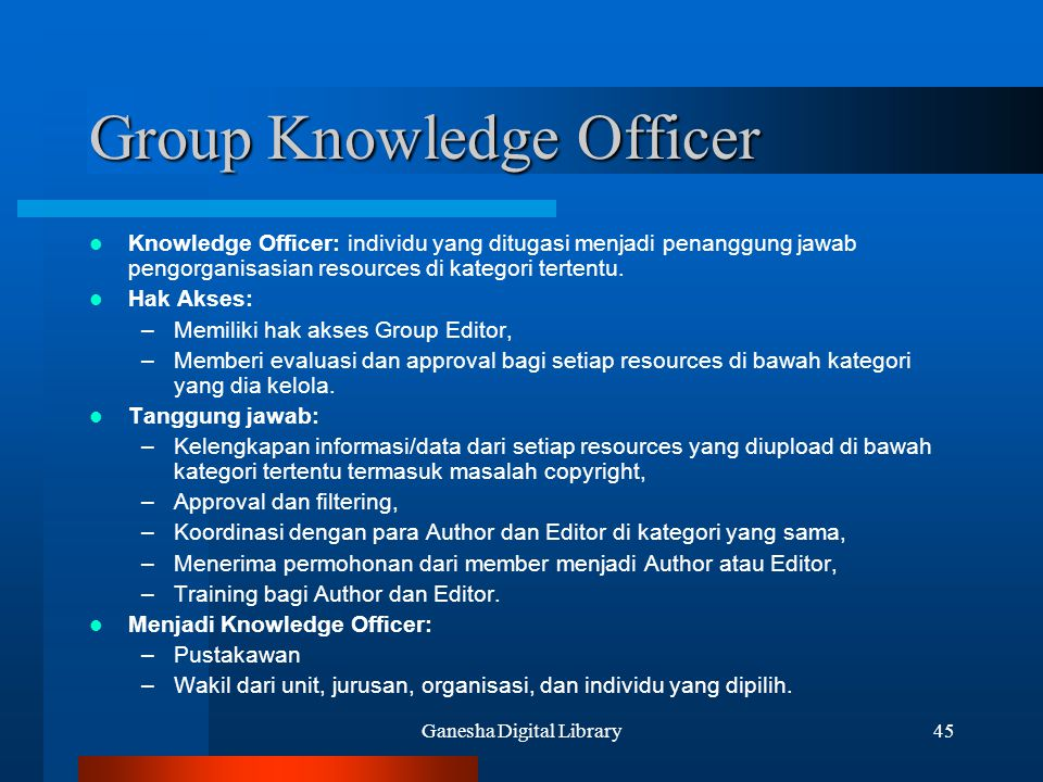 Group Knowledge Officer