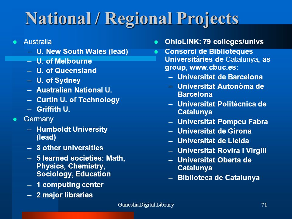 National / Regional Projects