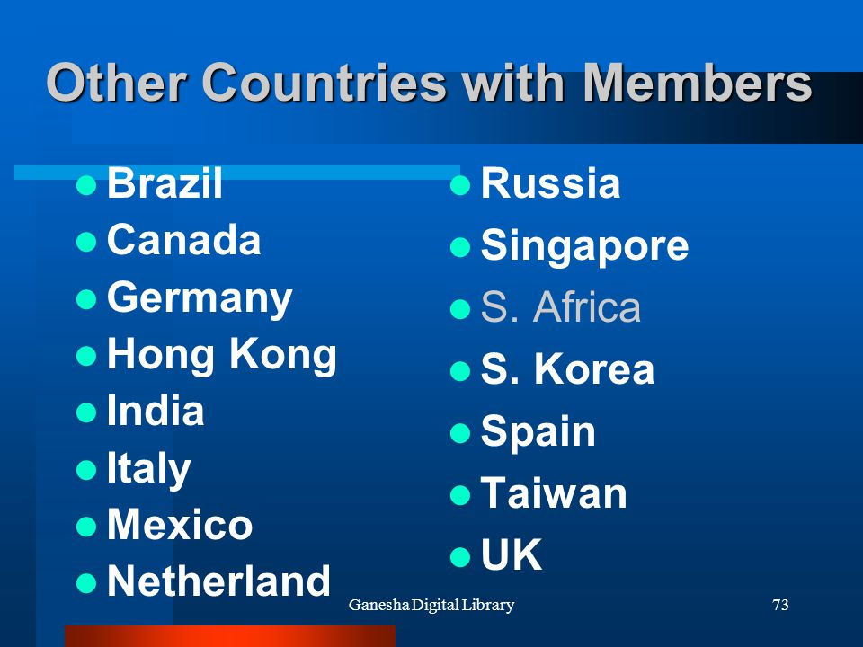 Other Countries with Members