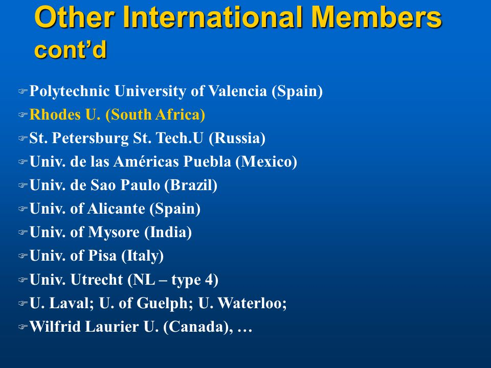 Other International Members cont'd