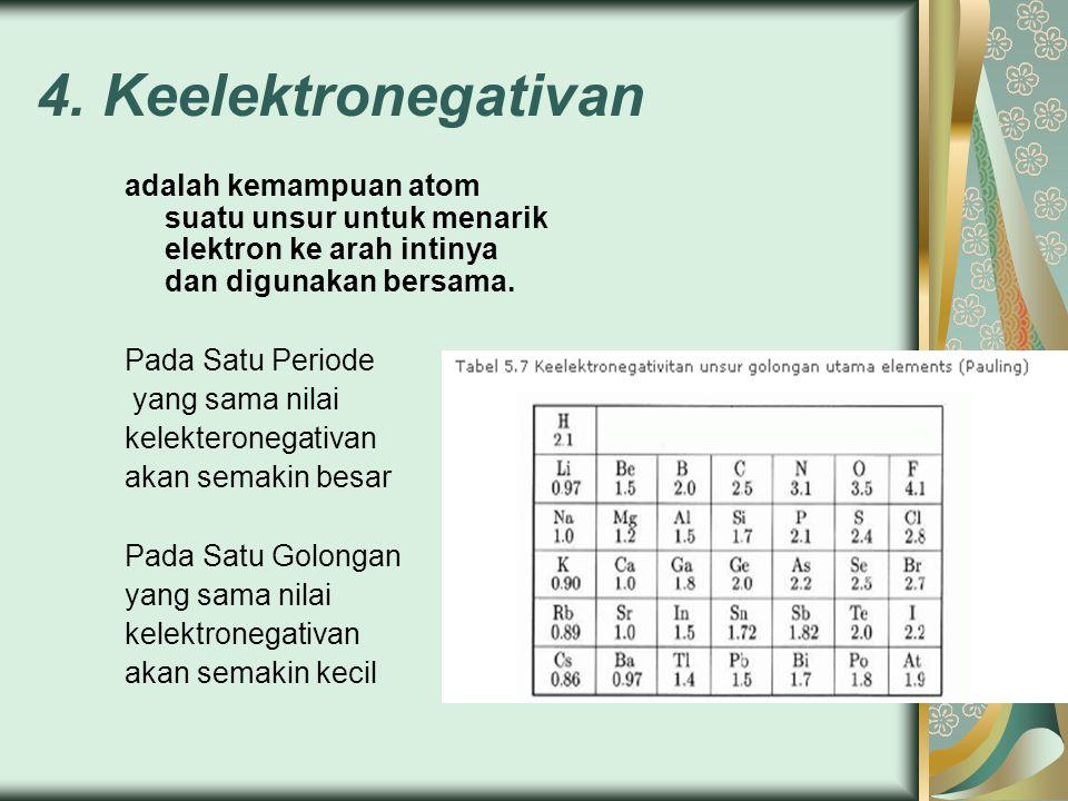 4. Keelektronegativan adalah kemampuan atom suatu unsur untuk menarik elektron ke arah intinya dan digunakan bersama.