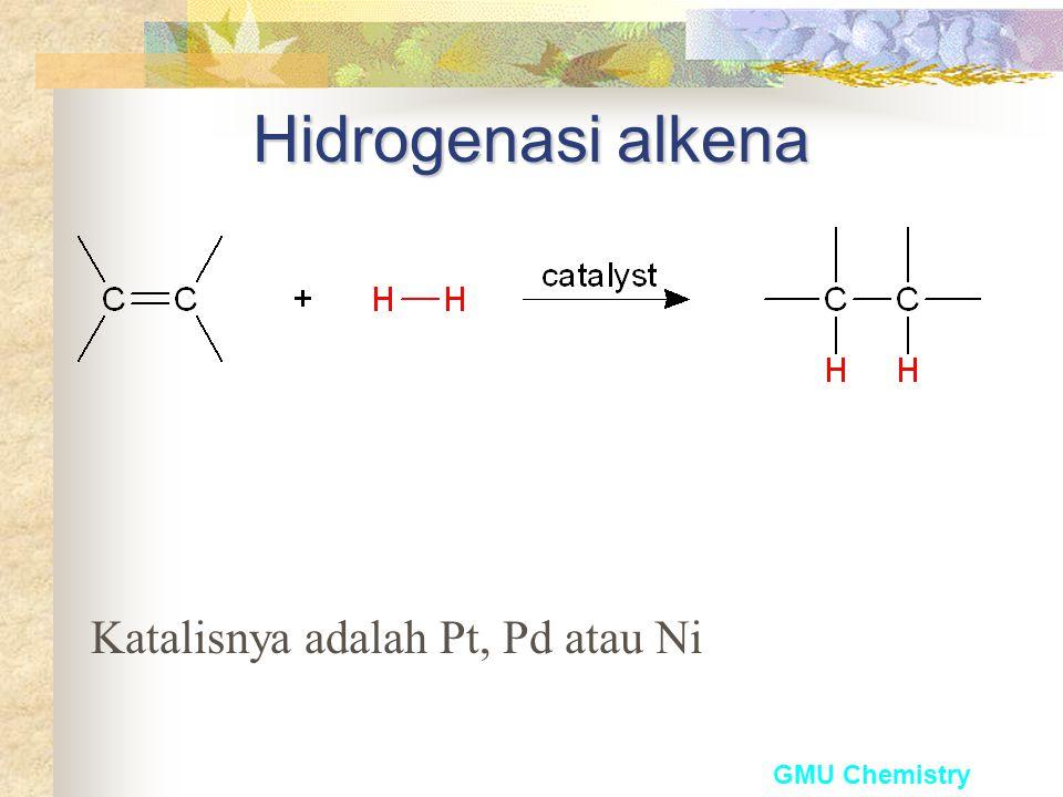Hidrogenasi alkena Katalisnya adalah Pt, Pd atau Ni GMU Chemistry