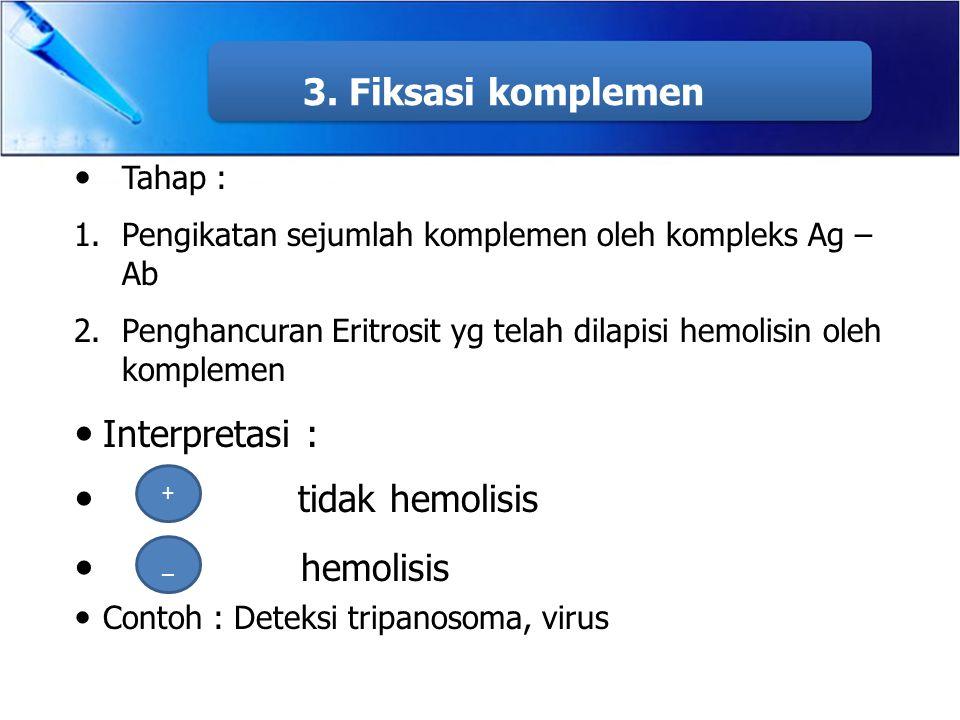 3. Fiksasi komplemen Interpretasi : tidak hemolisis hemolisis Tahap :
