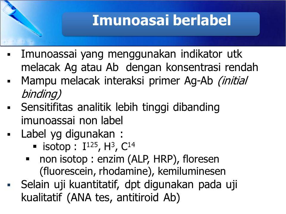 Imunoasai berlabel Imunoassai yang menggunakan indikator utk melacak Ag atau Ab dengan konsentrasi rendah.