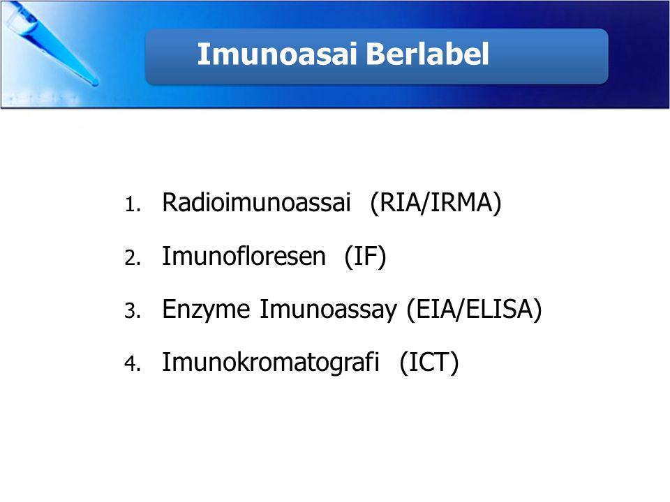 Imunoasai Berlabel Radioimunoassai (RIA/IRMA) Imunofloresen (IF)
