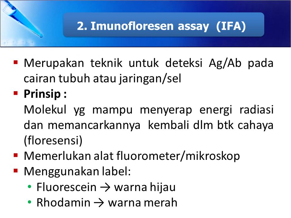 2. Imunofloresen assay (IFA)