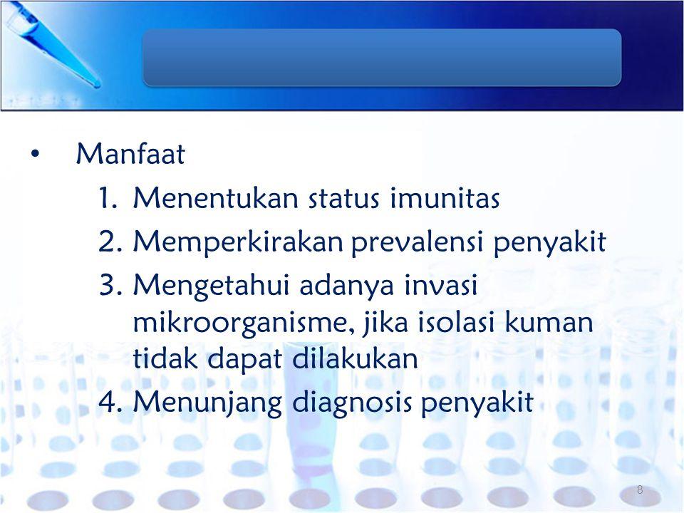 Manfaat Menentukan status imunitas. Memperkirakan prevalensi penyakit.
