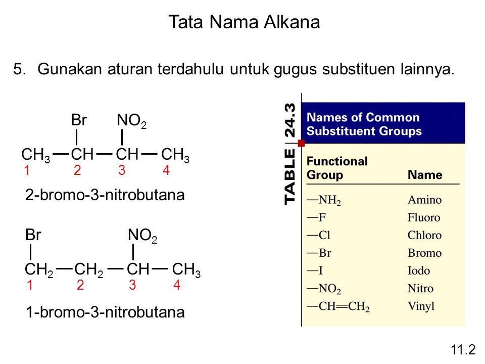 Tata Nama Alkana Gunakan aturan terdahulu untuk gugus substituen lainnya. CH3. CH. Br. 1. 2. 3.