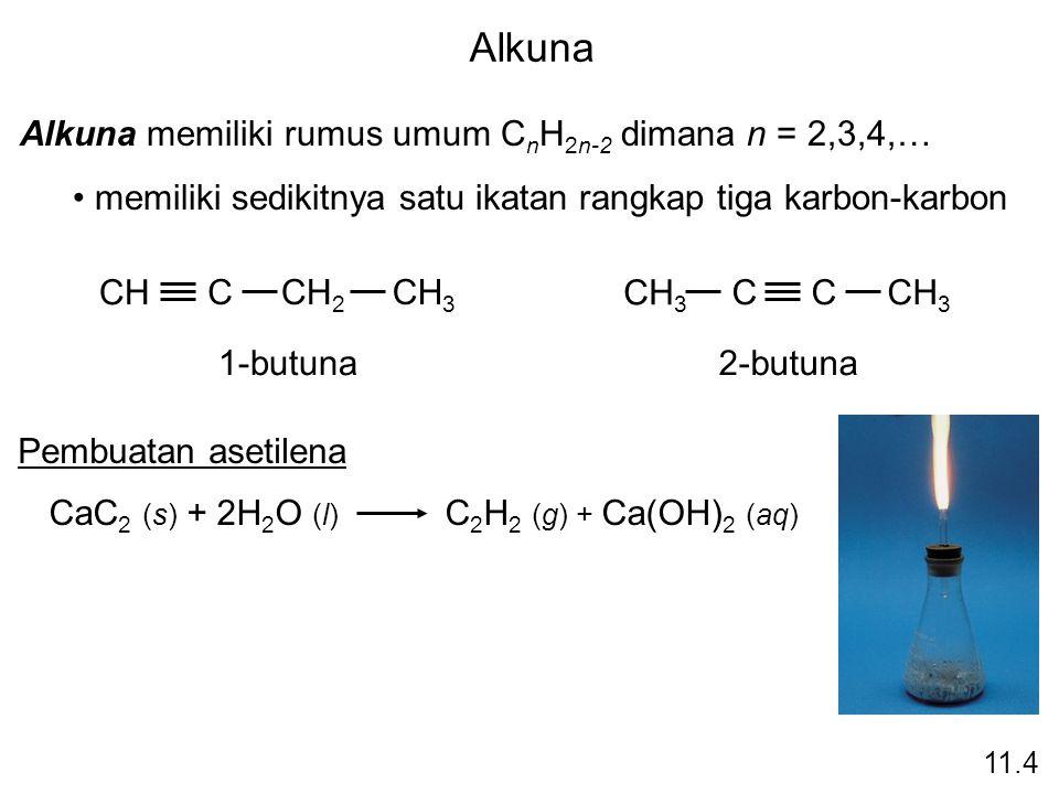 Alkuna Alkuna memiliki rumus umum CnH2n-2 dimana n = 2,3,4,…