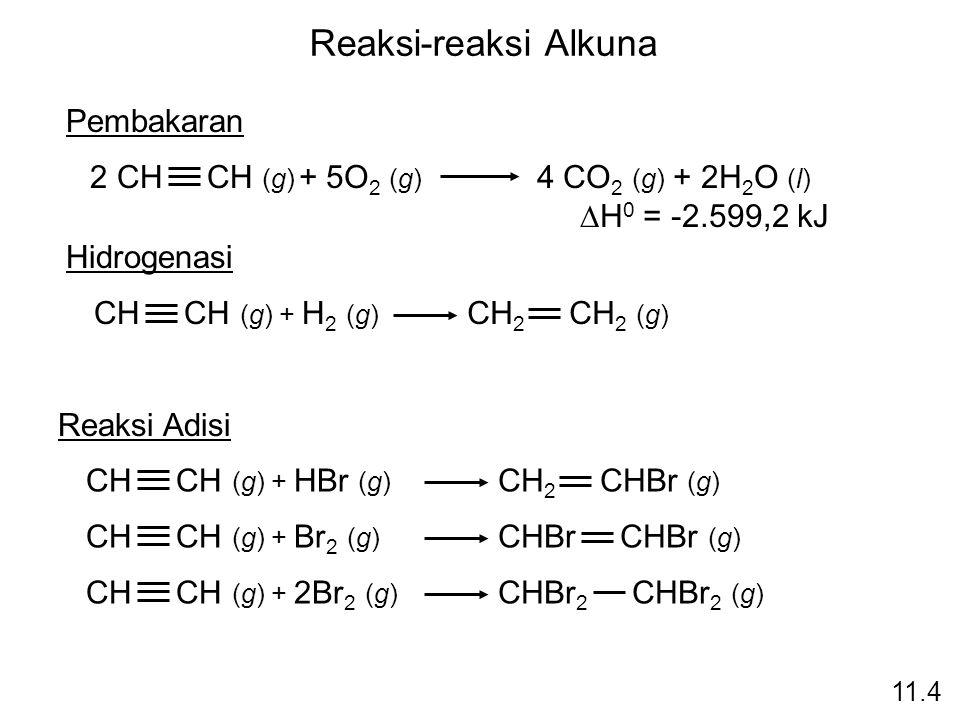 Reaksi-reaksi Alkuna Pembakaran 2 CH CH (g)