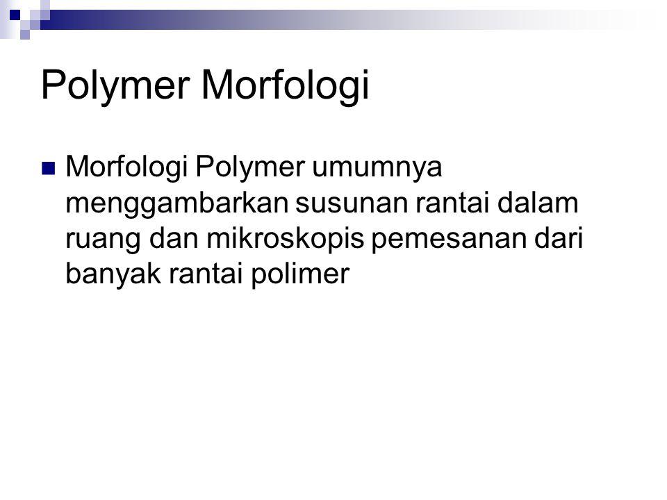 Polymer Morfologi Morfologi Polymer umumnya menggambarkan susunan rantai dalam ruang dan mikroskopis pemesanan dari banyak rantai polimer.