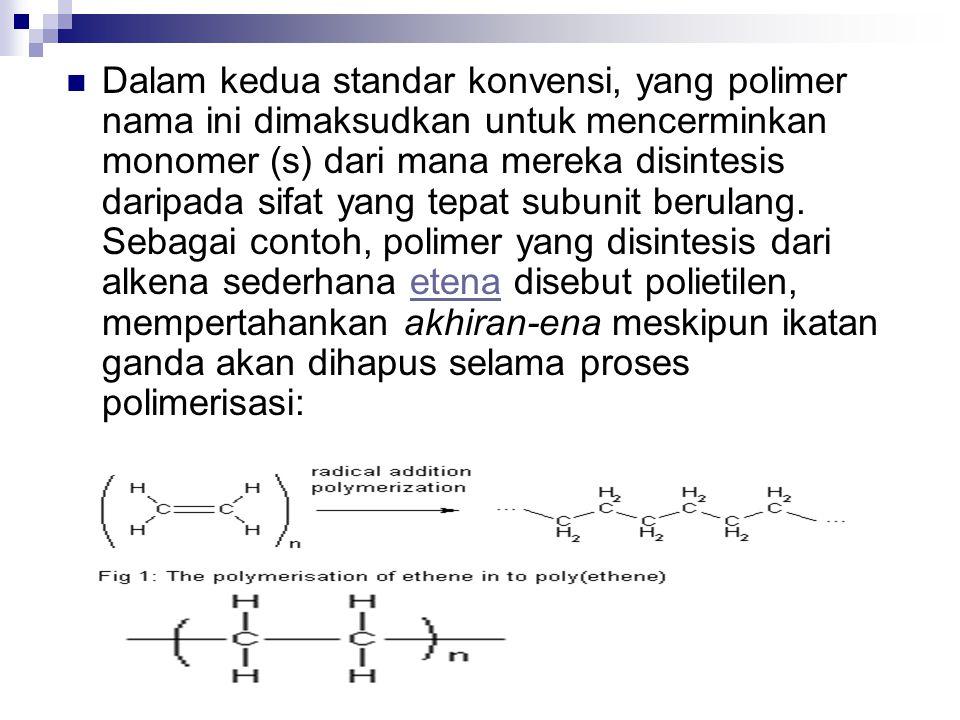 Dalam kedua standar konvensi, yang polimer nama ini dimaksudkan untuk mencerminkan monomer (s) dari mana mereka disintesis daripada sifat yang tepat subunit berulang.