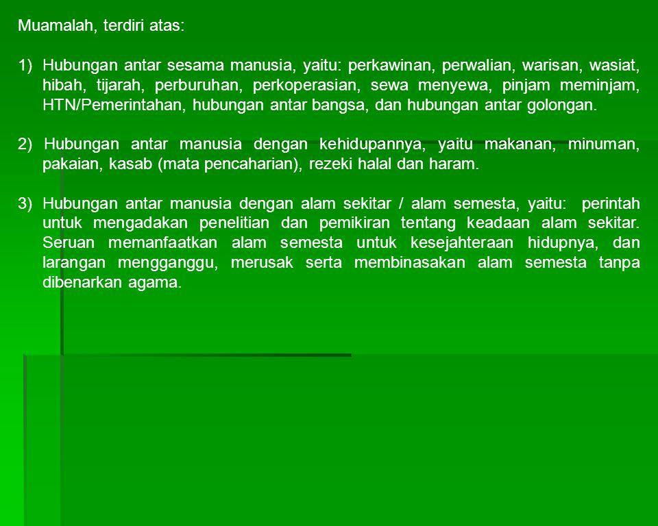 Muamalah, terdiri atas: