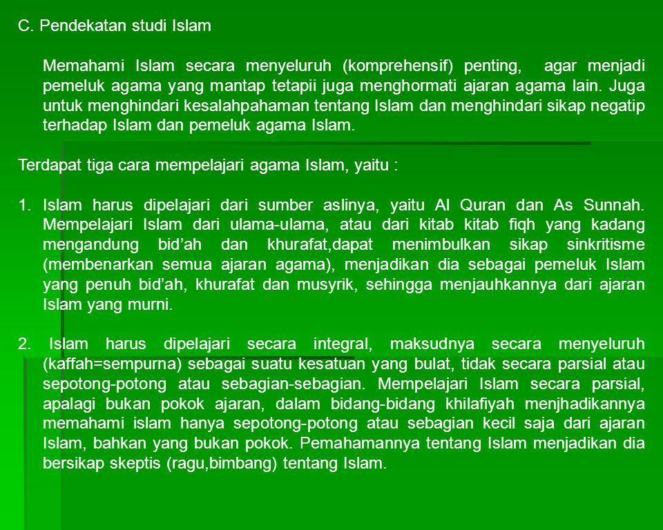 C. Pendekatan studi Islam