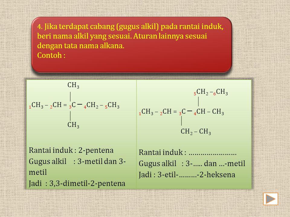 Rantai induk : 2-pentena Gugus alkil : 3-metil dan 3-metil