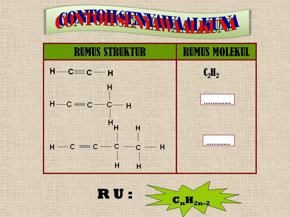 CONTOH SENYAWA ALKUNA R U : RUMUS STRUKTUR RUMUS MOLEKUL C2H2