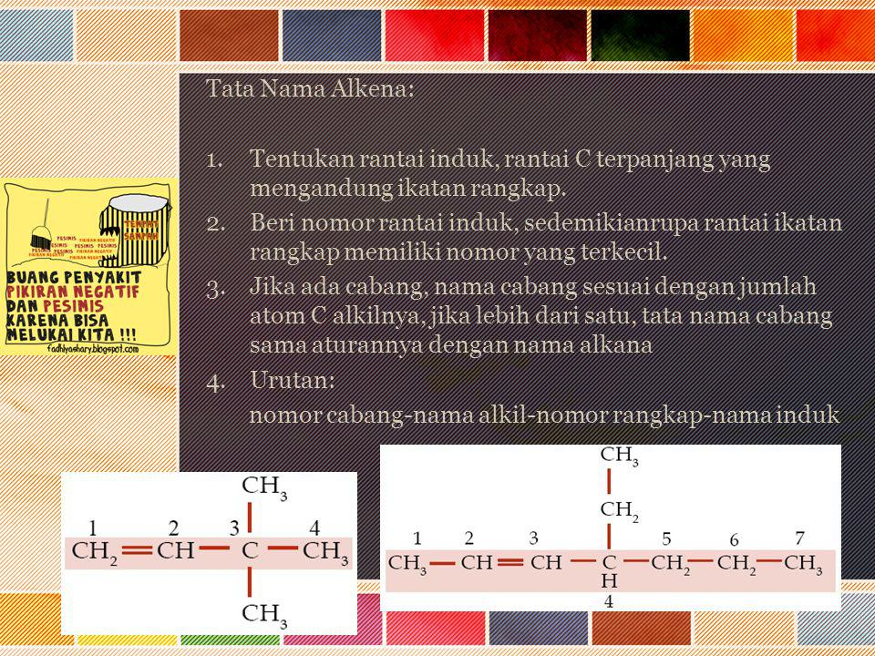 Tata Nama Alkena: Tentukan rantai induk, rantai C terpanjang yang mengandung ikatan rangkap.