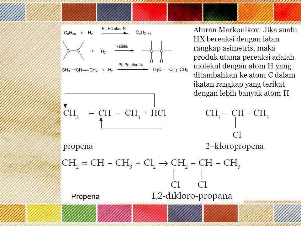 Aturan Markonikov: Jika suatu HX bereaksi dengan iatan rangkap asimetris, maka produk utama pereaksi adalah molekul dengan atom H yang ditambahkan ke atom C dalam ikatan rangkap yang terikat dengan lebih banyak atom H