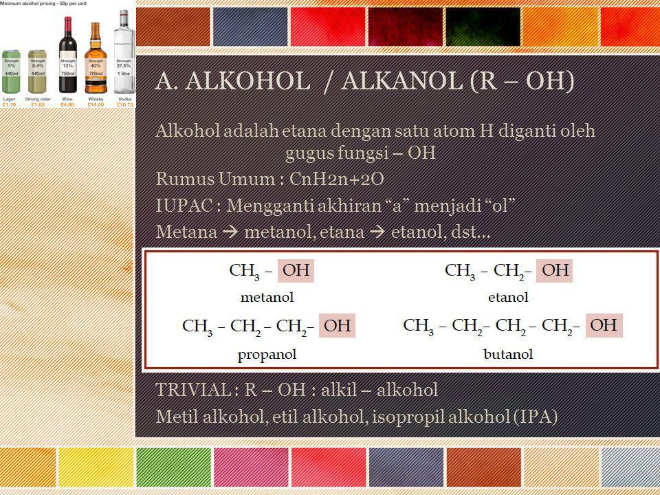 A. ALKOHOL / ALKANOL (R – OH)
