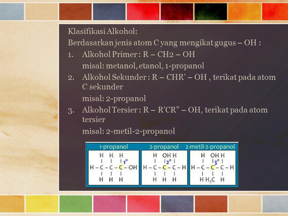 Klasifikasi Alkohol: Berdasarkan jenis atom C yang mengikat gugus – OH : Alkohol Primer : R – CH2 – OH.