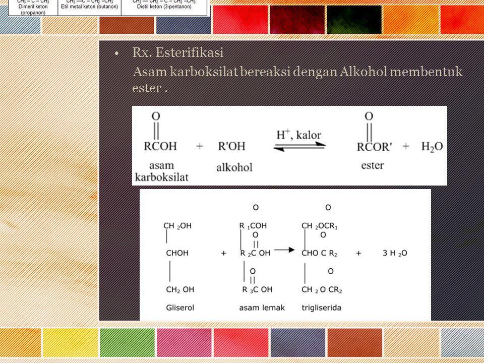 Rx. Esterifikasi Asam karboksilat bereaksi dengan Alkohol membentuk ester .
