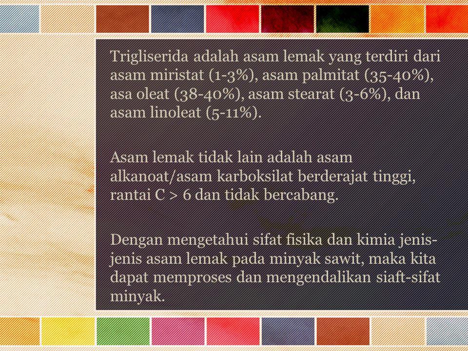 Trigliserida adalah asam lemak yang terdiri dari asam miristat (1-3%), asam palmitat (35-40%), asa oleat (38-40%), asam stearat (3-6%), dan asam linoleat (5-11%).
