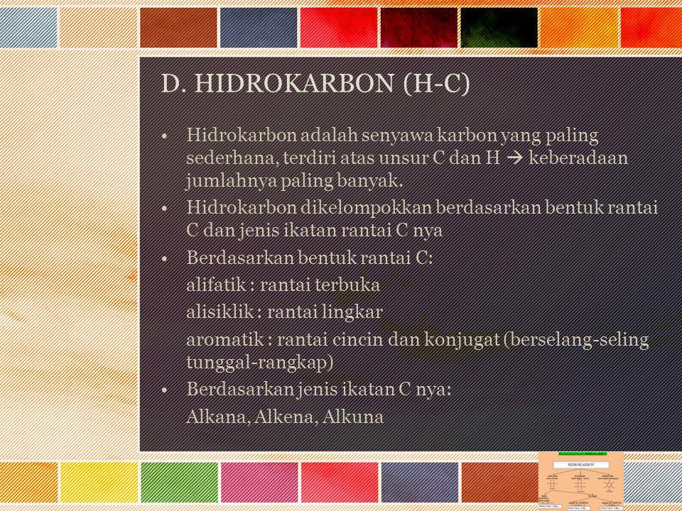 D. HIDROKARBON (H-C) Hidrokarbon adalah senyawa karbon yang paling sederhana, terdiri atas unsur C dan H  keberadaan jumlahnya paling banyak.