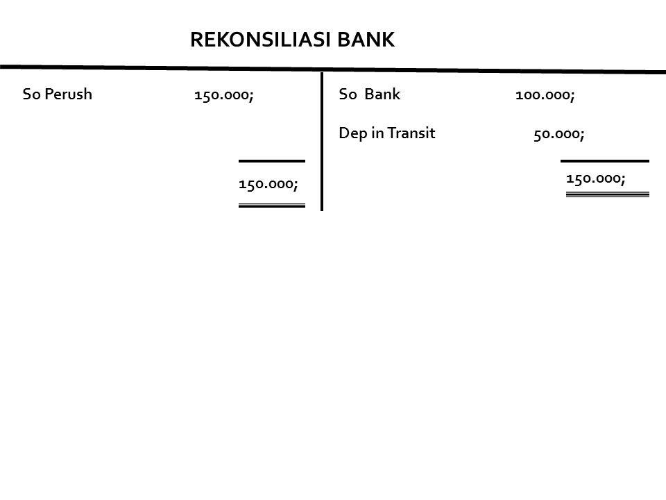 REKONSILIASI BANK So Perush 150.000; So Bank 100.000;