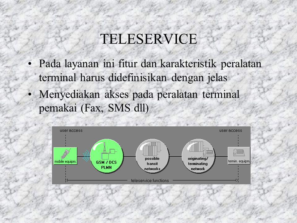 TELESERVICE Pada layanan ini fitur dan karakteristik peralatan terminal harus didefinisikan dengan jelas.